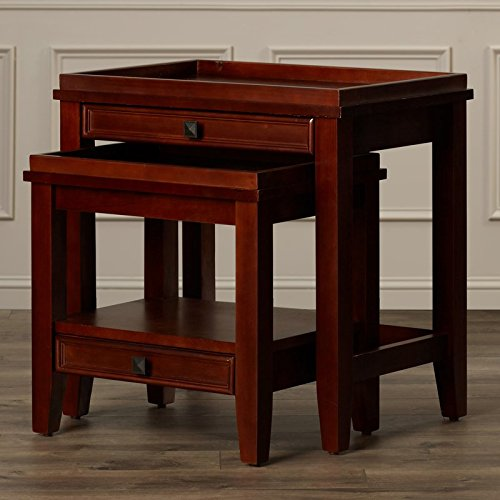 2 Piece Nesting Tables Made of Wood in Cherry Finish Wish Small Drawer For Storage Don't Miss This Offer