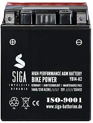 Siga Motorradbatterie 12v 14ah 250a Elektronik