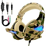 Gaming Headset for PS4 Xbox One PC, Beexcellent Heavy Bass Headphone with Noise Cancelling Mic, Breathable Earmuff, Durable Braided Cord, Stylish Blue Led Light(Camo)