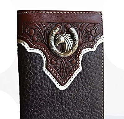 Horseshoe horse brown black concho long mens bifold leather wallet