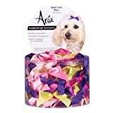 Aria Satin Acetate Ribbon Multicolor Dog Bows Canister, 3/8-Inch, 100-Pack, My Pet Supplies
