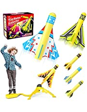 Jasonwell Toy Rocket Launcher for Kids Sturdy Stomp Launch Toys Fun Outdoor Toy for Kids Gift for Boys and Girls Age 5 6 7 8 9 10 Years Old with 3 Foam Rockets and 3 Stunt Planes