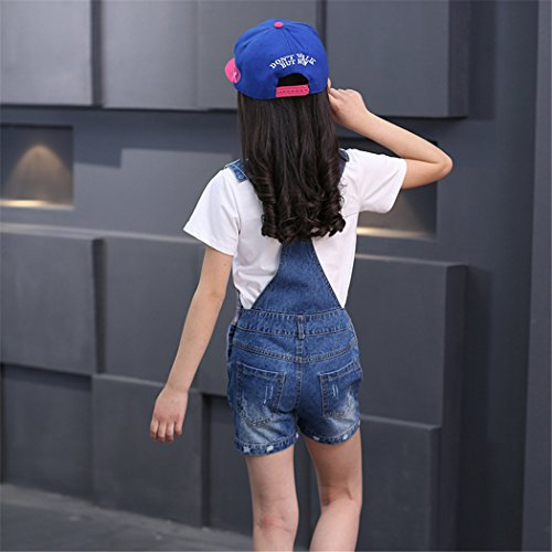 Big Girl's Denim Jumpsuit Boyfriend Jeans Cool Fashion Denim Romper Shortalls 12 Blue by Luodemiss (Image #2)