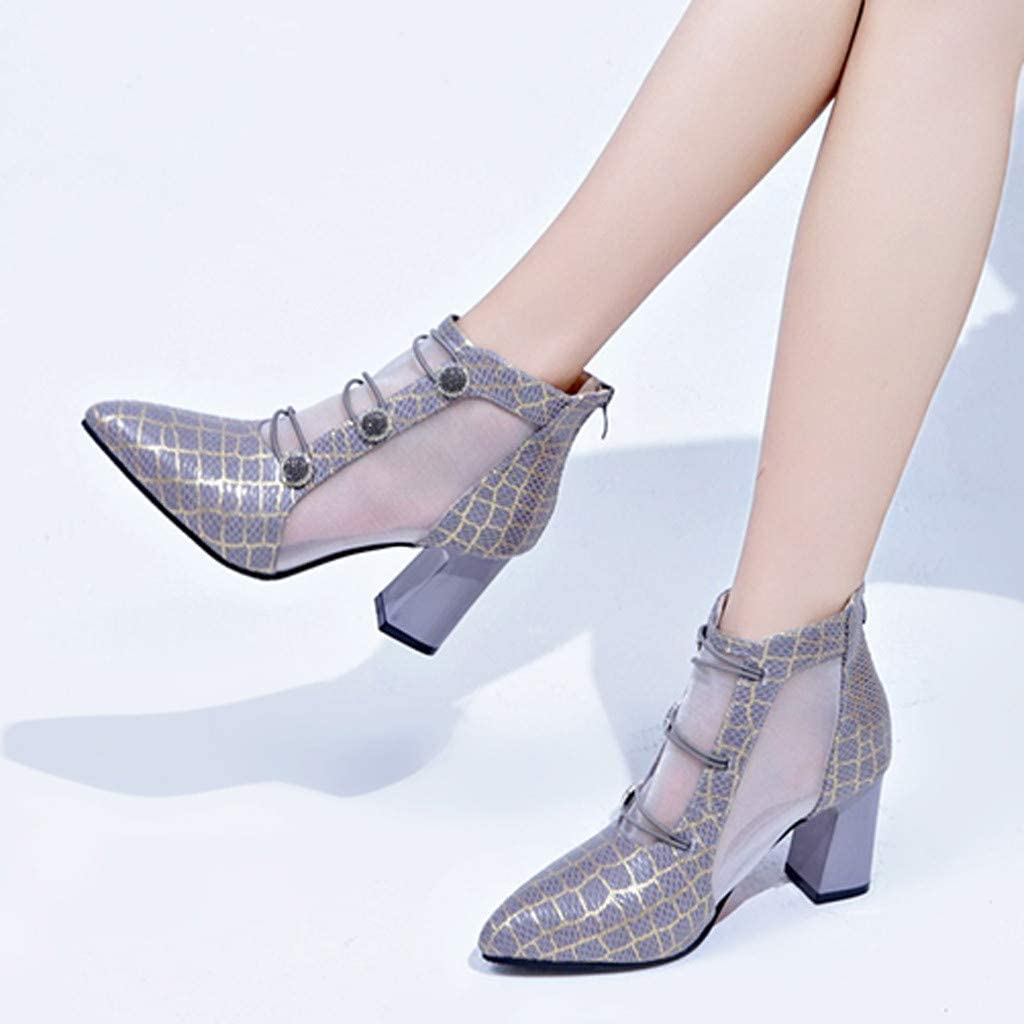 Womens Mid Block Chunky Heel Glitter Sequins Ankle Boots Party Dance Short Booties Zipper Shoes