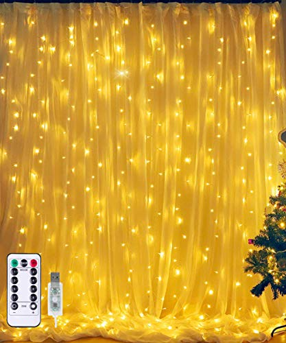 Ollny 304 LED Window Curtain String Fairy Lights USB Powered for Bedroom Wedding Party Indoor Outdoor Christmas Decoration with Remote Control 8 Modes Warm White