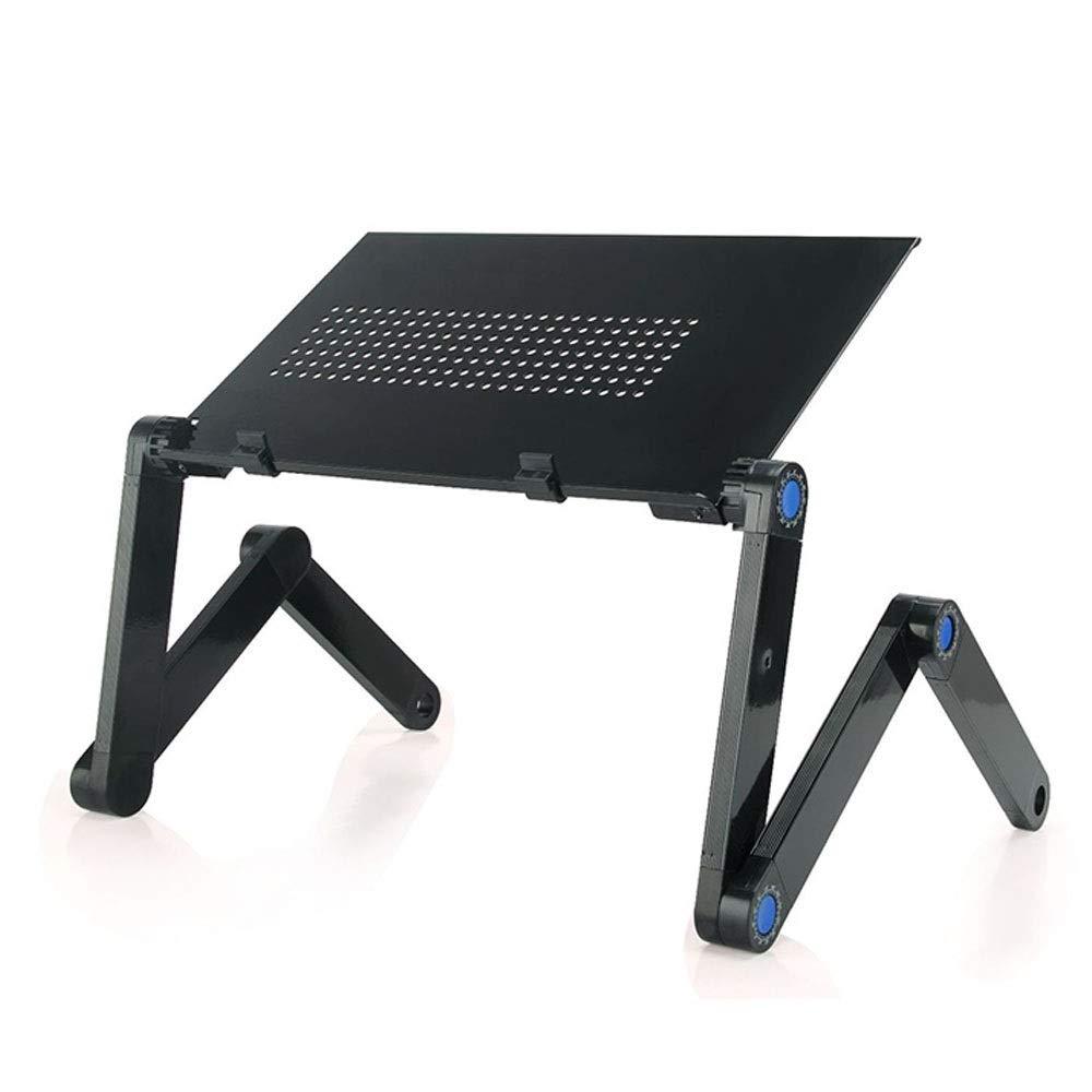 Folding Computer Table Black Laptop Desk Aluminum Folding Computer Desk 420260 Metal Aluminum Small Table Flat Brain Stent (Color : Black, Size : 420260)
