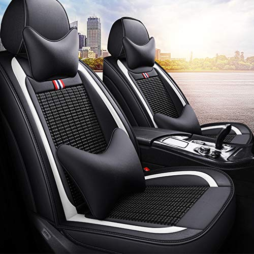 Leather Ice-silk Car Seat Cover- Anti-Slip Suede Backing Universal Fit Car Seat Cushion for Both Fabric and Leather Car Seats,Black: