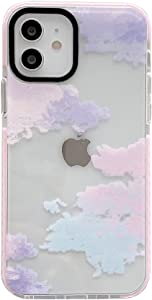 Afterglow Colorful Clouds for Apple iPhone 12 Pro Case Built-in Pink Rubber Bumper Anti-Scratch Clear Phone Cover Skin Fashion Style for iPhone 12 & 12 Pro Cases (for iPhone 12/12Pro)