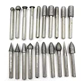"20 Pics 1/4"" Shank Diamond Coated Mounted Points Grinding Bit Set for Jade Polishing Carving"