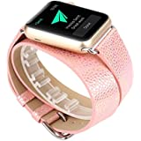 NewKelly For Apple Watch Series 1/2 38MM Leather Strap Band Wrist Watch Replacement Loop Band For Apple Watch 38MM (Rose Gold)