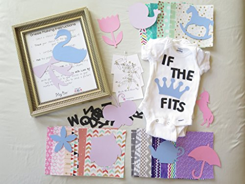 Fabric Fun Baby Kits (GIRL Theme-Baby Shower DIY Onesie Making Kit (25 Fabric Appliqués & 8x10 Black Applique for Lettering))