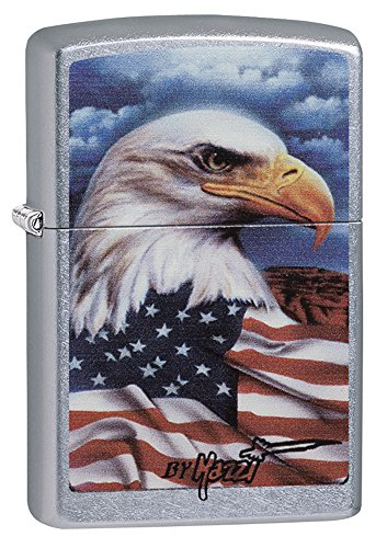 Eagle Lighter - Zippo Mazzi Bald Eagle with Flag Pocket Lighter, Street Chrome