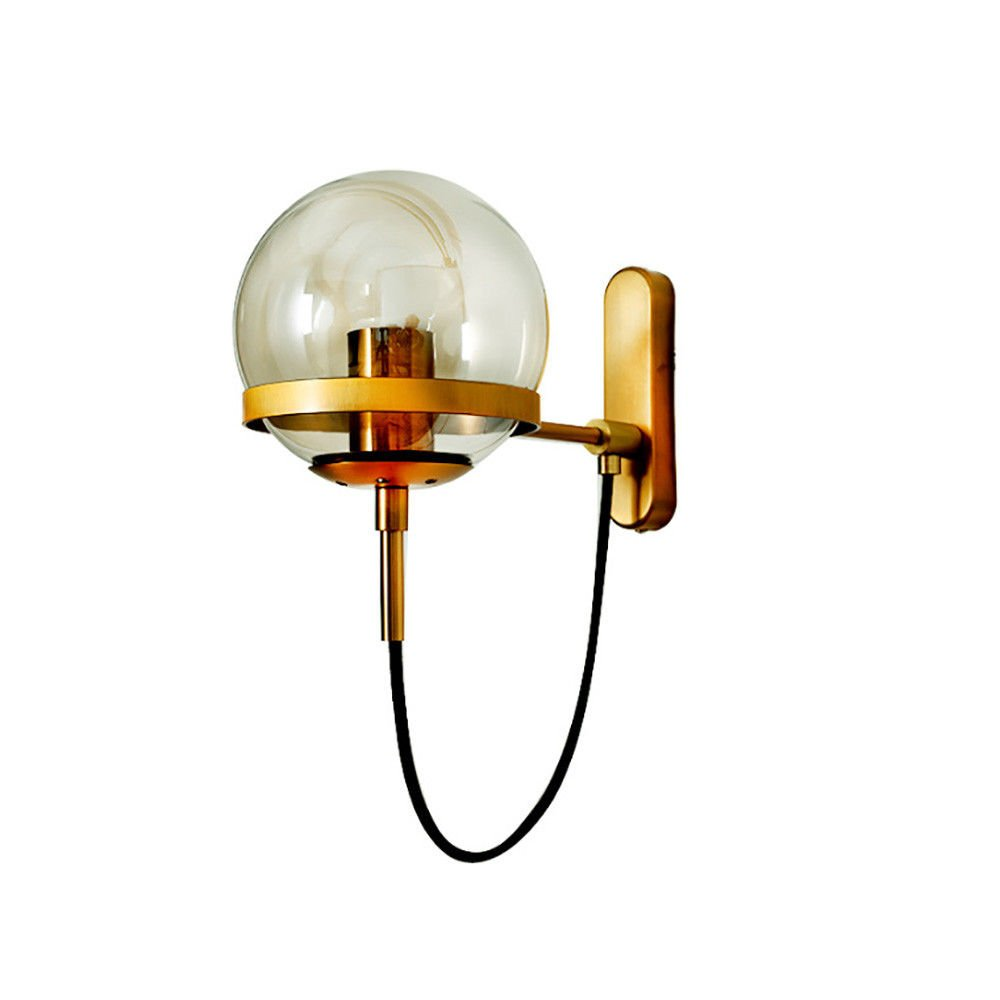 Wandbeleuchtung Industrielle retro dekorative Lampe Glaskugel Wandlampe Nachttischlampe Kreis Schmiedeeisen Wandlampe, schwarz (brauner Lampenschirm) Bdiong