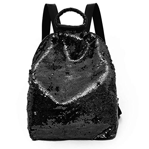 Fan-Ling Women Colorful Sequins Bag Versatile Portable Multi-Purpose Shoulder Bag,Durable Backpack Rucksacks,Great Present (Black)