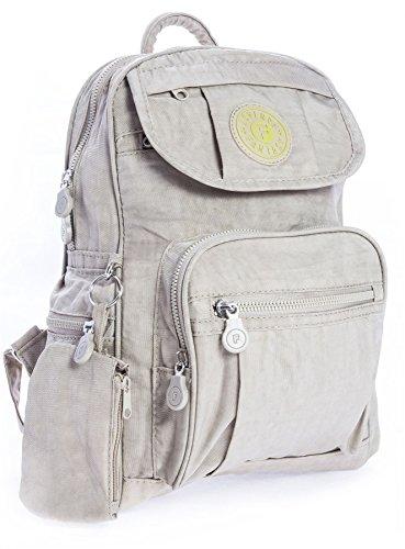 Small Beige Lightweight Light Fabric Multipocket Size Backpack Handbag Big Unisex Bag Travel Shop Rainproof XqTwv7ZO