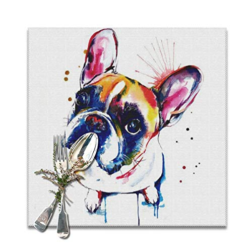 Because French Bulldog Pit Bull Boston Terrier Placemats,Heat-Resistant Washable Cotton Placemats,Polyester Linen Dining Table Mats for Kitchen,Set of 6 Boston Terrier Pit Bull