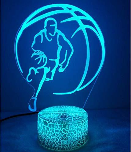 3D Baloncesto ilusión Optica Lámpara Luz Nocturna 7 Colores Cambiantes Touch Switch USB de Suministro de Energía Juguetes Decoración Navidad ...