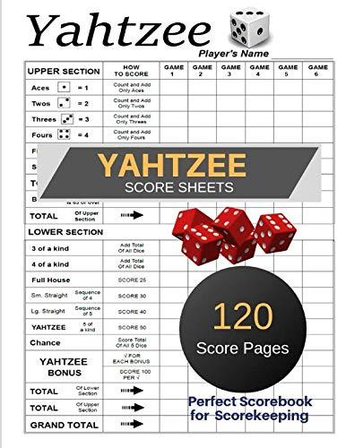 Yahtzee Score Sheets: Yahtzee Score Record, Yahtzee score Card, Record dice thrown, Games Record,  Yahtzee Game Record Score Keeper Book, 120 Page: 2 Scores Per Pages , Size: 11x8.5 Inc. (Gift)