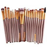 Binmer(TM)20pcs Makeup Brush Set Tools Make-up Toiletry Kit Wool Make Up Brush Set Powder Brush Foundation Brush Eyebrow Eyeliner (Gold 1)