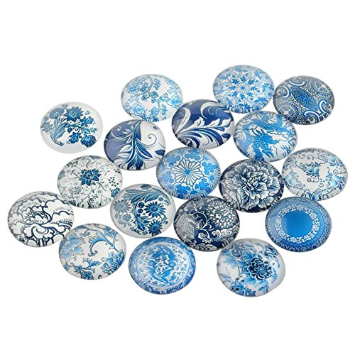 NBEADS 200 Pcs Blue and White Floral Printed Glass Cabochons, Half Round/Dome, Steelblue, 12x4mm ()
