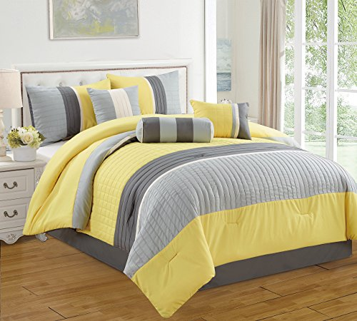 JBFF 7 Piece Bed in Bag Microfiber Luxury Comforter Set, King, Bright Yellow (Bed And Bag King Size)