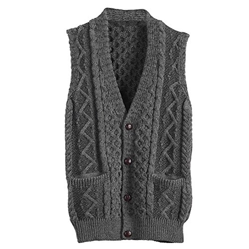 Cable Knit Wool Vest - Men's Aran Waistcoat - Cable Knit Wool Button Down Sweater Vest - Large Gray