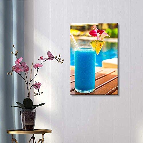 Tropical Blue Cocktail on a Beach Near a Swimming Pool Wall Decor