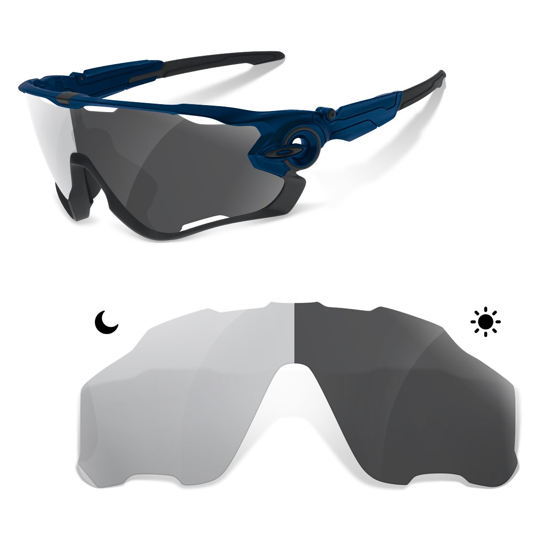 5d88c2575ea Polarized Photochromic Grey Replacement Lenses for Oakley Jawbreaker (15% -  35%)  Amazon.ca  Sports   Outdoors