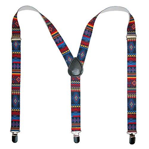 CTM Women's Elastic Aztec Pattern Suspenders