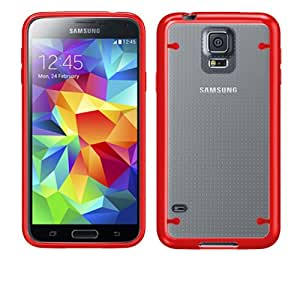 Samsung Galaxy S 5 Clear and Red Crystal Ultra Thin Hybrid TPU Case