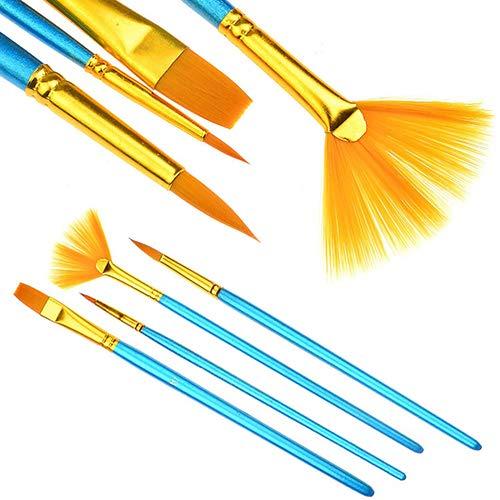 t0uvtrukCs Paint Brush Set, Professional Round Pointed Tip Nylon Hair Artist Detail Watercolor Paintbrushes, 4 Pcs Nylon…