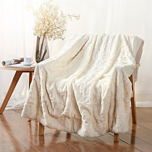 - Elliz Luxury Super Soft Elegant White Roses Faux Fur Throw 50