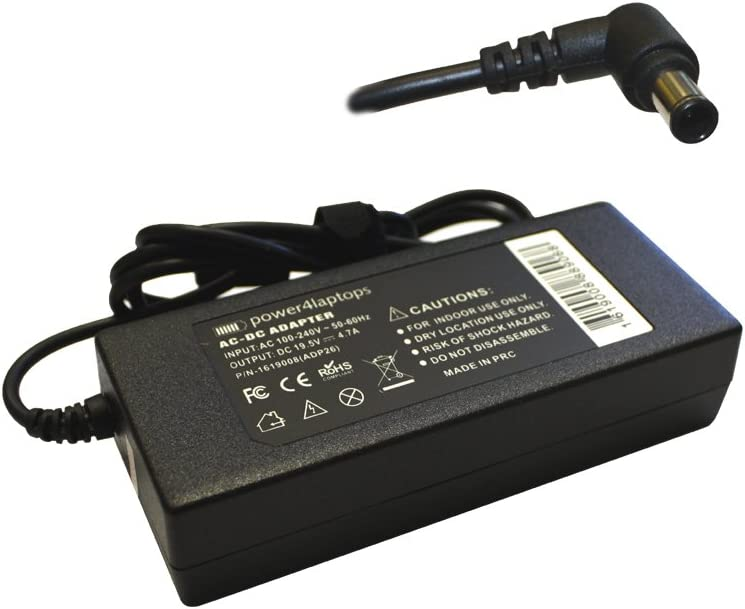 Power4Laptops AC Adapter Laptop Charger Power Supply Compatible with Sony Vaio VGN-NR498E/L, Sony Vaio VGN-NR498E/P, Sony Vaio VGN-NR498E/S, Sony Vaio VGN-NR498E/T, Sony Vaio VGN-NR498E/W