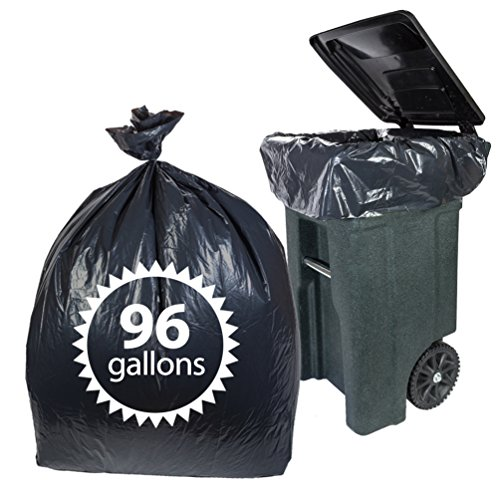 Toter 96 Gallon Trash Bags By Primode - 25 Count Extra Heavy Duty Black Garbage Bags For Indoor Or Outdoor Use 61x68 MADE IN THE USA (96 GALLON) Gallon Extra Heavy Liner
