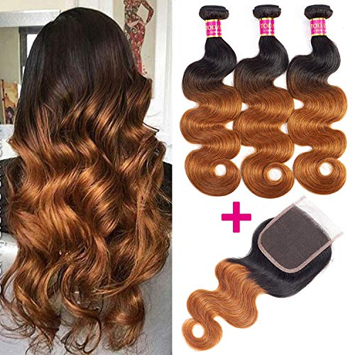 Brazilian Body Wave Bundles Closure Brazilian Hair Weave Bundles Closure,24 26 26 & Closure20,T1B/30 ()