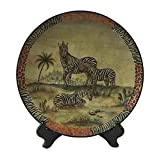 PMJC Hand Painted Zebra Oil Painting Porcelain Plate, 10