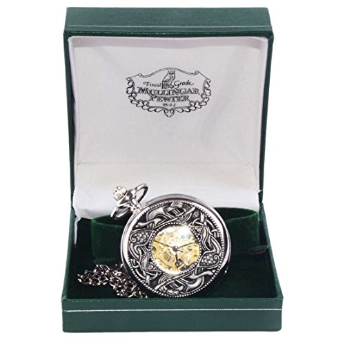 Mullingar Pewter Open Faced Pocket Watch With Kells Celtic (Celtic Design Watch)