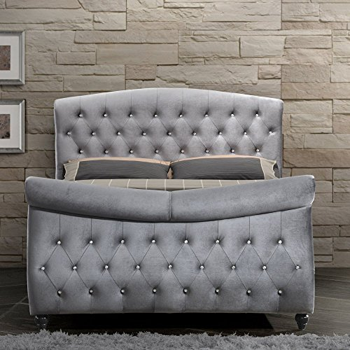 Inland Empire Furniture's Hudson Grey Velvet King Sleigh Bed King Sleigh Bedroom Suite