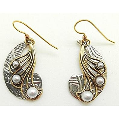 e4bf8bb4f Image Unavailable. Image not available for. Color: Silver Forest Surgical  Steel Silvertone Shapes with Pearlescent Accent Dangle Earrings NE-0144
