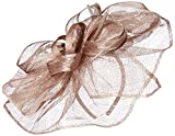 Scala Women's Large Metallic Fascinator Hat, Mocha, One Size