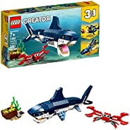 LEGO Creator 3in1 Deep Sea Creatures 31088 Make a Shark, Squid, Angler Fish, and Crab with this Sea Animal Toy Building Kit