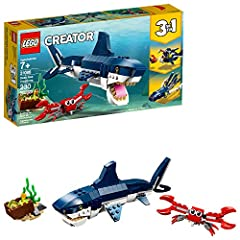 Enjoy underwater ocean adventures with the LEGO Creator 3in1 31088 Deep Sea Creatures set, featuring a scary shark with a realistic dark-blue and white color scheme, opening mouth full of pointy teeth, moving fins, movable body joints and ref...