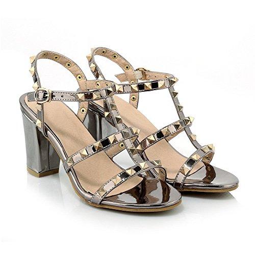 Zapatos De Tacón Alto Para Mujer Allhqfashion Color Surtido Sandalias De Punta Abierta Con Hebilla Negra