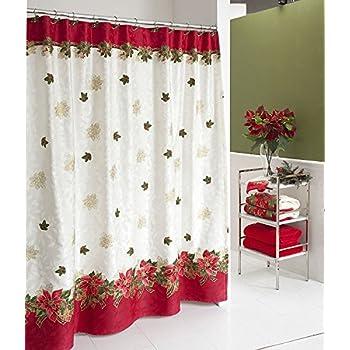 Lenox Holiday Poinsettia Tartan Shower Curtain