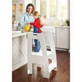Guidecraft Kitchen Helper Tower Step-Up - White: Kids' Wooden, Adjustable Height, Step Stool with Safety Rails for Little Children - Toddler Learning Furniture