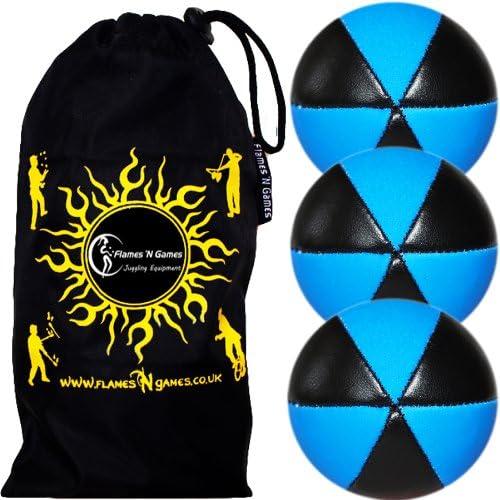 Flames N Games Astrix UV Thud Juggling Balls Set of 3 (Black/Blue) Pro 6 Panel Leather Juggling Ball Set & Travel Bag!