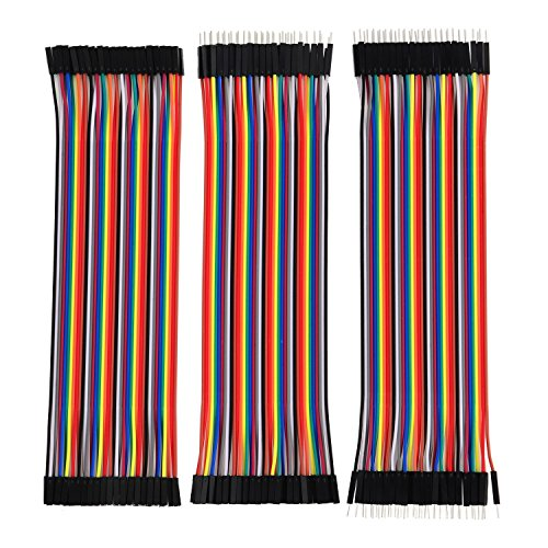 HWAYEH 120pcs Multicolored Dupont Wire 40pin Male to Female, 40pin Male to Male, 40pin Female to Female Breadboard Jumper Wires Ribbon Cables Kit for arduino