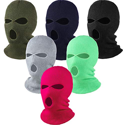 6 Pieces Beanie Face Covering Winter Balaclava 3-Hole Knitted Ski Full Face Covering for Winter Outdoor Sports