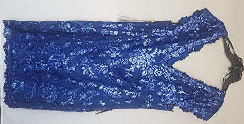 Tadashi Shoji Womens V-Neck Cap Sleeve Sequin Lace Dress Blue 20Q