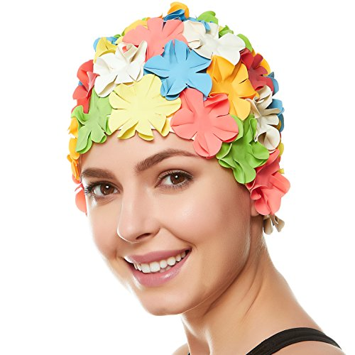 - Beemo Floral Petal Ladies Bathing Swim Cap - Multi Color